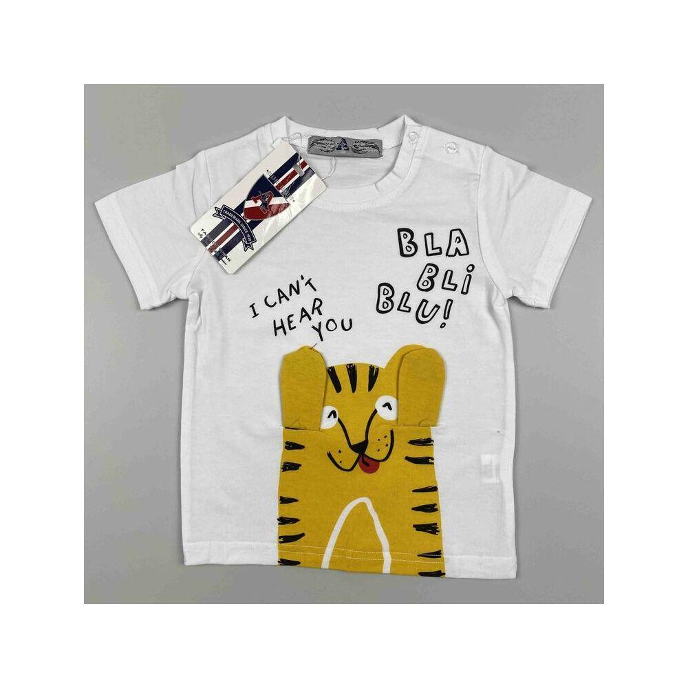 Kisfiú pamut rövid ujjú fehér alapon tigris motívummal bla-bli-blu felirattal