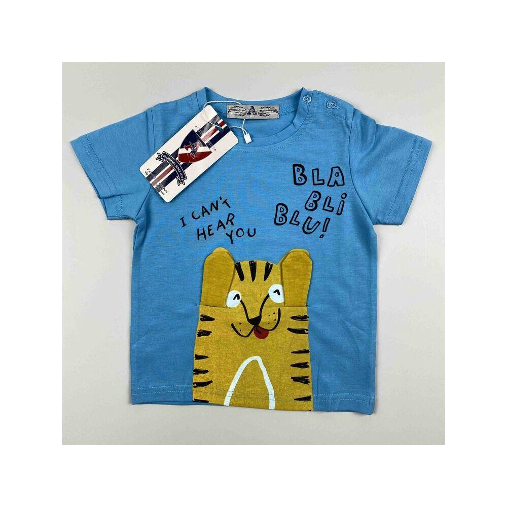 Kisfiú pamut rövid ujjú kék alapon tigris motívummal bla-bli-blu felirattal