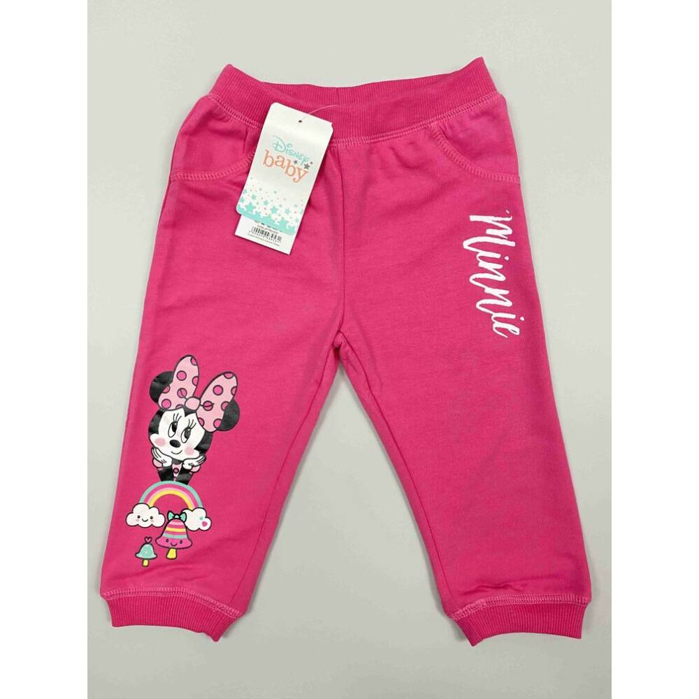Kislány rózsaszín hosszú szárú szabadidő nadrág filmnyomott Minnie motívum és felirat