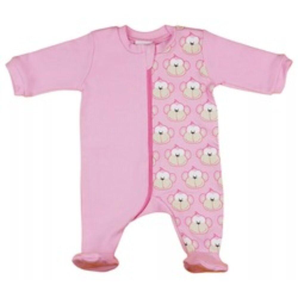 Majom mintás rózsaszín pamut kislány hosszú ujjú rugdalózó cipzáras