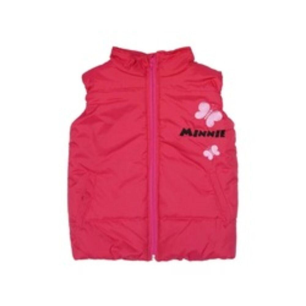 Minnie hímzéssel díszített bélelt rózsaszín kislány zsebes mellény