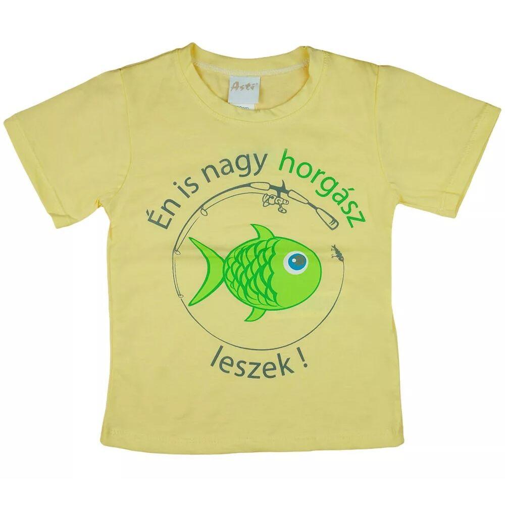 Én is nagy horgász leszek sárga kisfiú pamut rövid ujjú póló