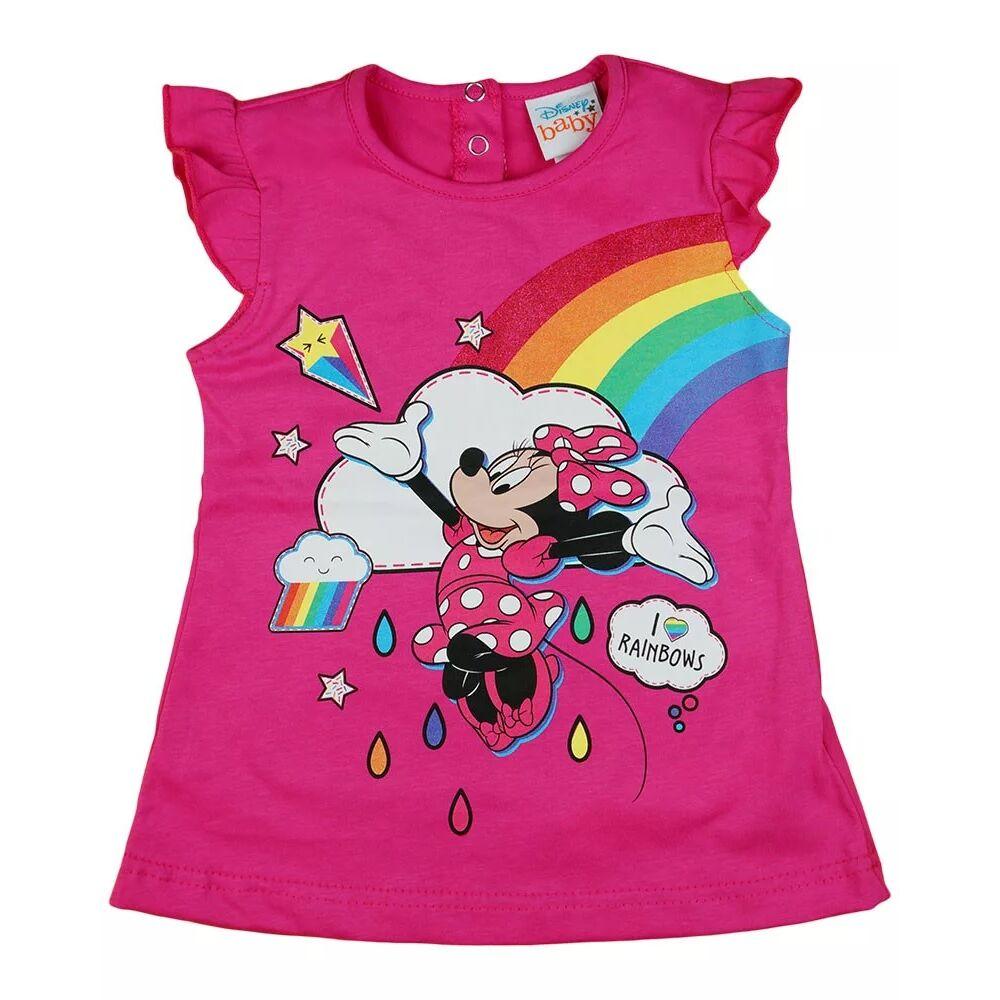 Minnie mintával nyomott, a vállánál fodros, hátul patentos rövid ujjú lányka póló