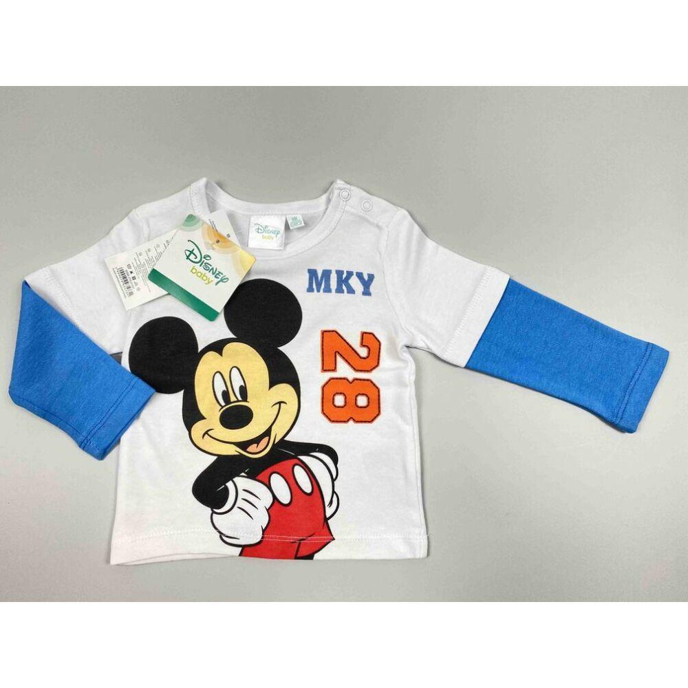 Kisfiú Disney hosszú ujjú fehér alapon kék ujjal Mickey filmnyomott motívummal és MKY 28 felirattal