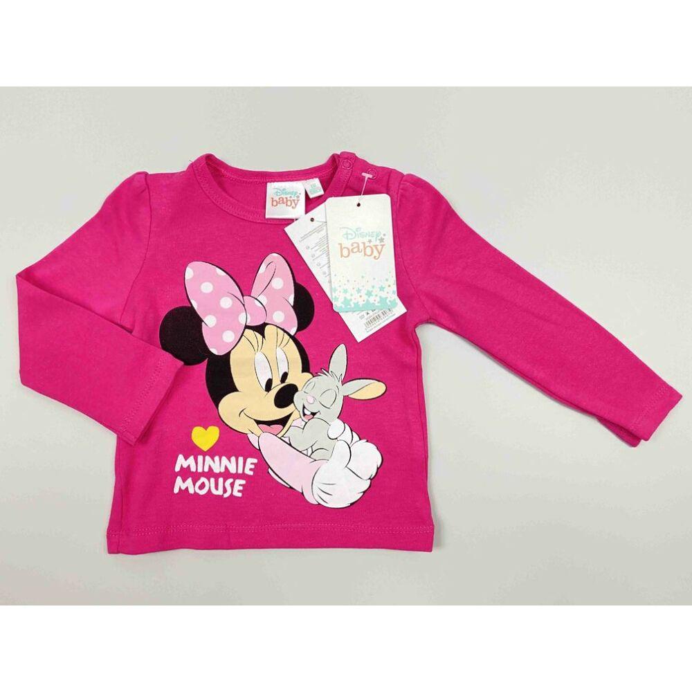 Kislány Disney hosszú ujjú rózsaszín alapon Minnie filmnyomott motívummal és Minnie house felirattal