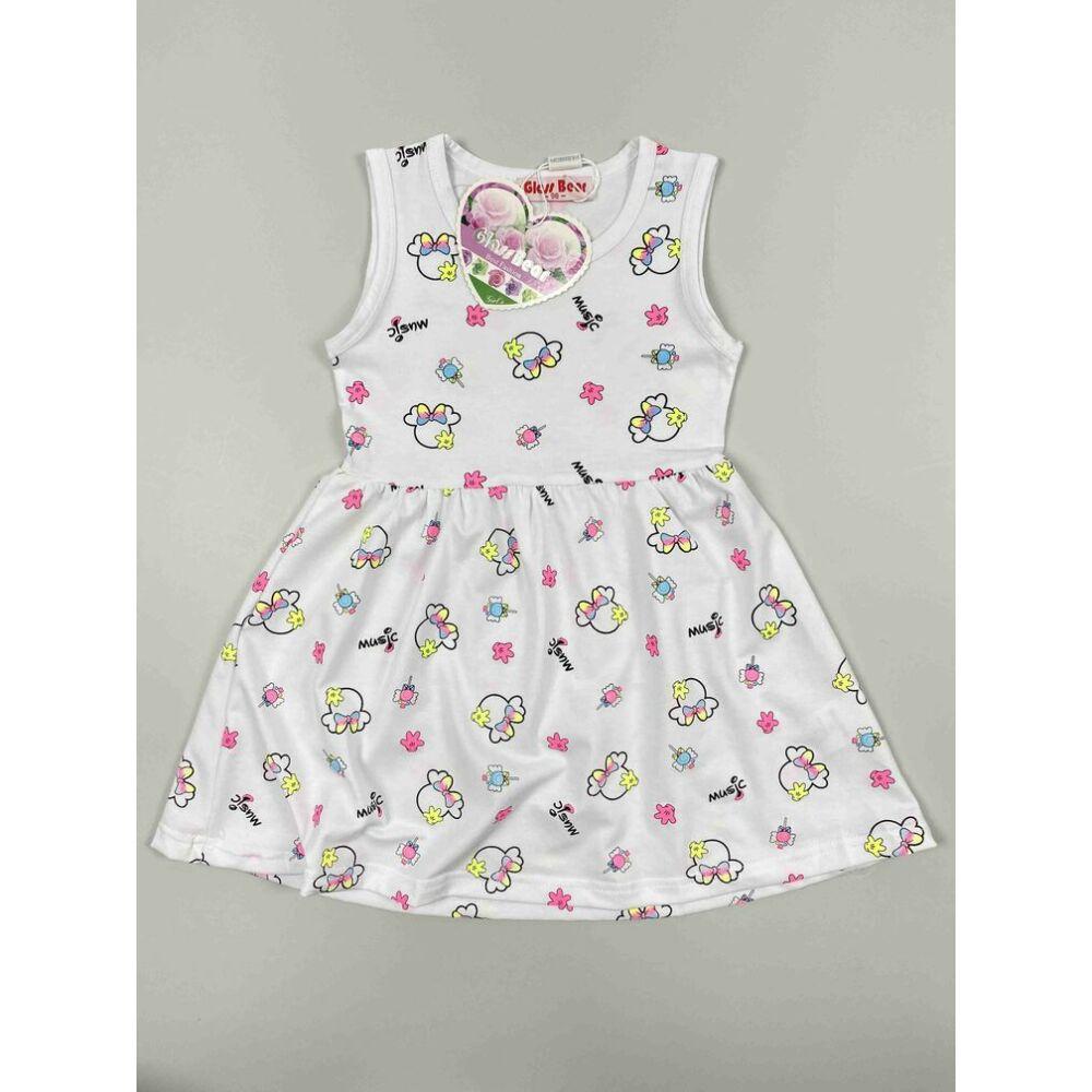 Kislány ruha fehér színű alapon Minnie fejes motívumokkal music felirattal