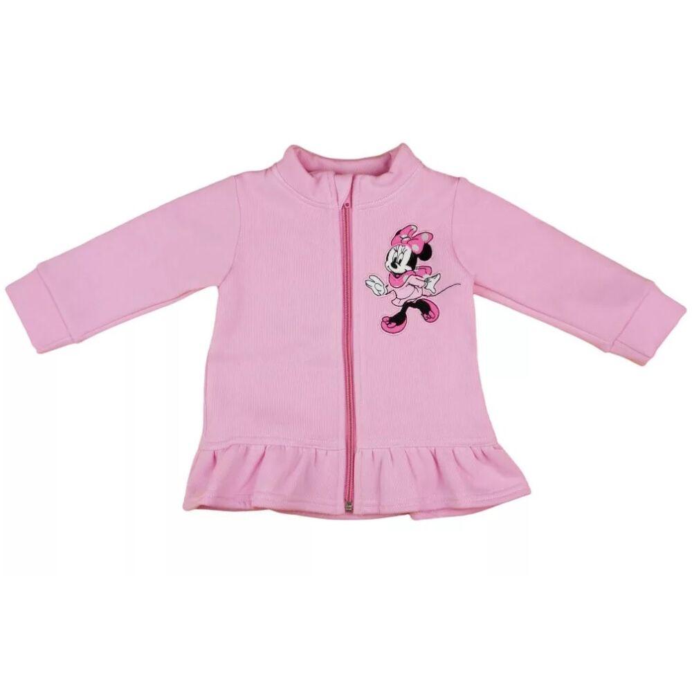 Disney Minnie mintával hímzett, belülrózsaszín, bolyhos, cipzáras, alján fodros, nyakánál cipzártakaróval készült lányka kardigán.