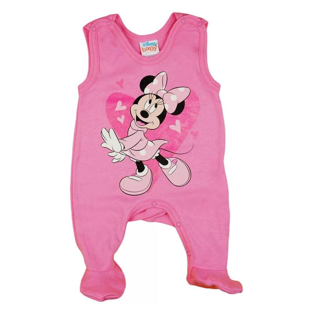 Disney Minnie mintával nyomott, glitteres, szívecskés, vállon patentos, rózsaszín ujjatlan rugdalózó