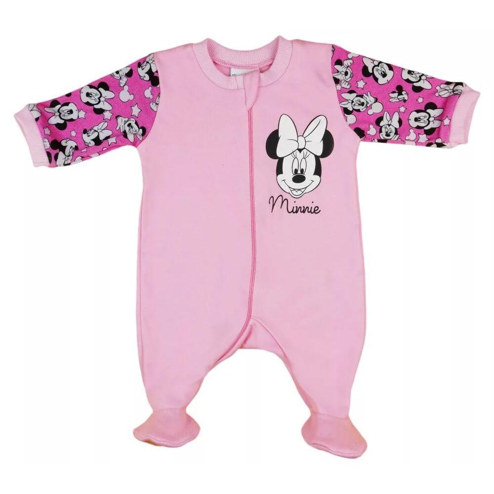 Disney Minnie mintával nyomott, hosszú ujjú, rózsaszín, pamut, cipzáras rugdalózó. Nyakánál cipzártakaróval.