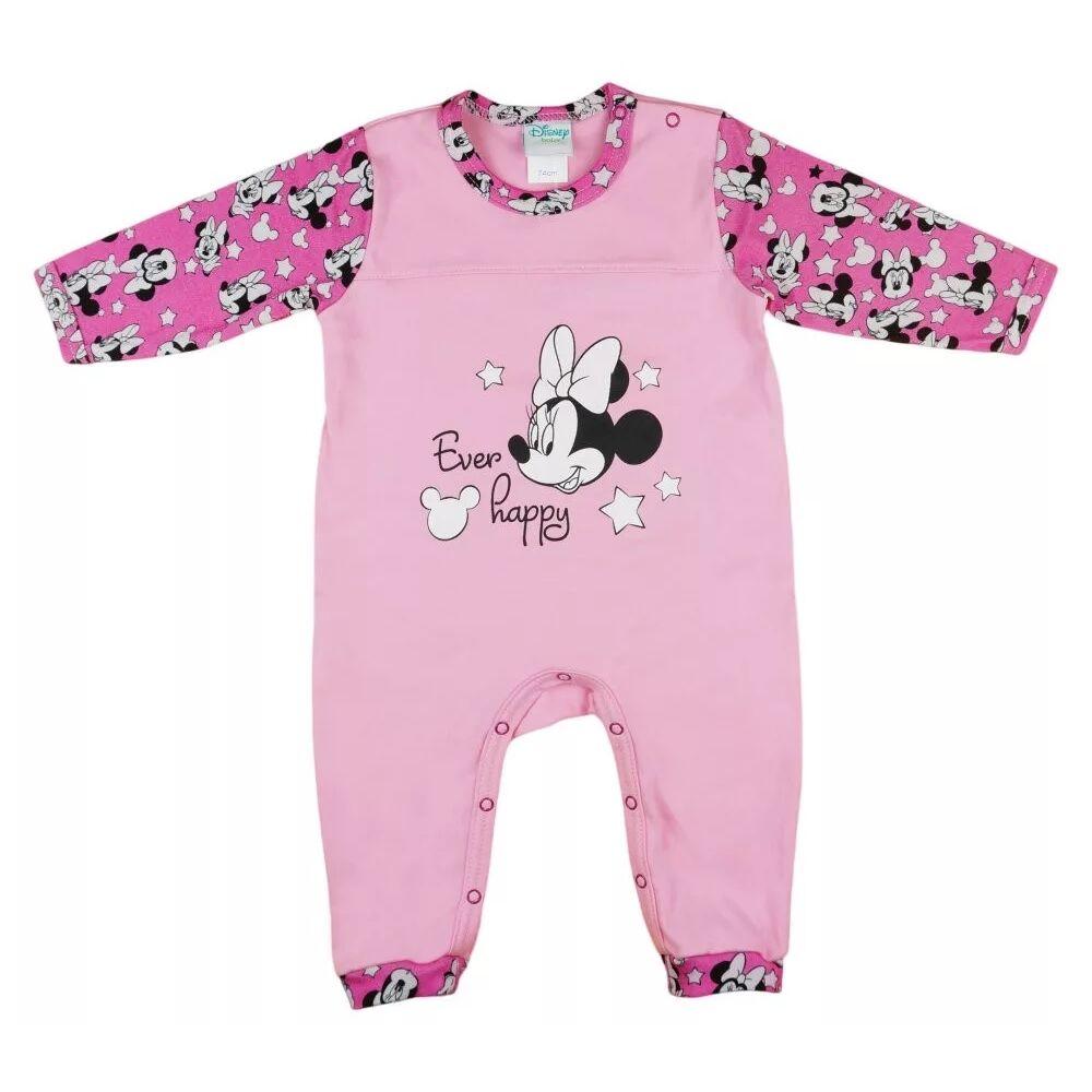 Disney Minnie mintával nyomott, vállon és lábszáron patentos könnyű pamut rugdalózó. Lábfej nélküli