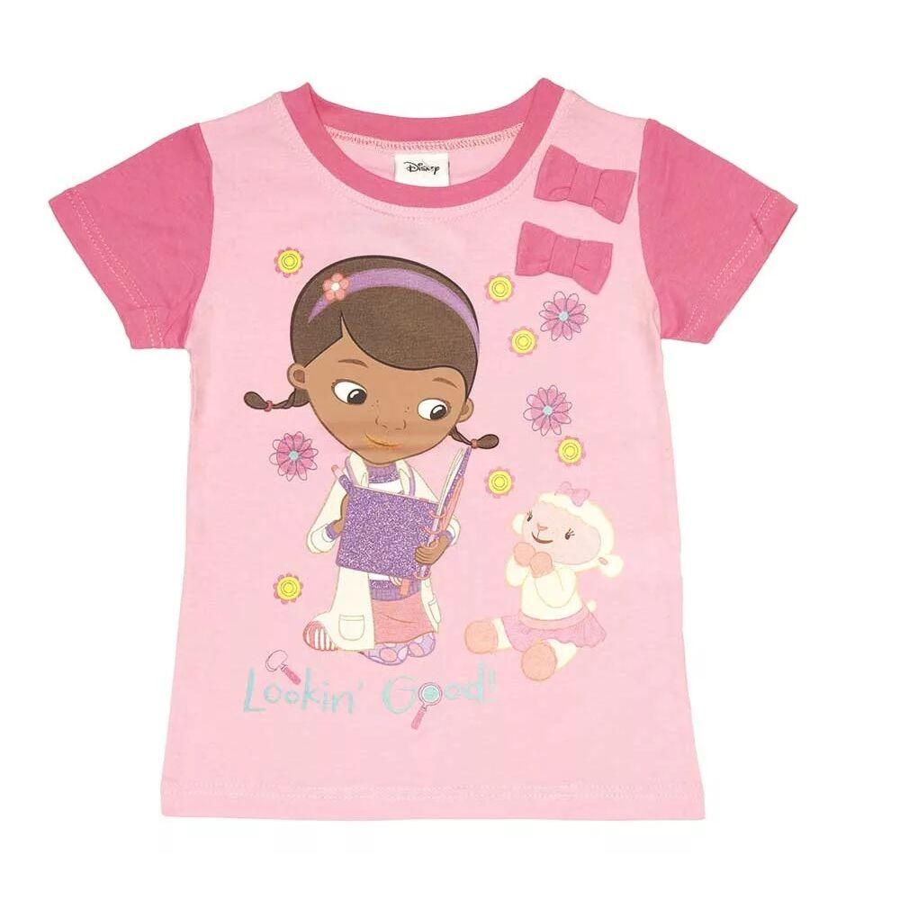 Disney pamut kislány masnis póló, rózsaszín, elején Dr. Plüssi filmnyomott mintával.