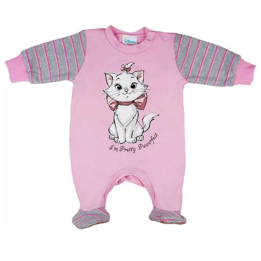 Marie cica mintával nyomott, vállon patentos hosszú ujjú vékony pamut rugdalózó, rózsaszín.