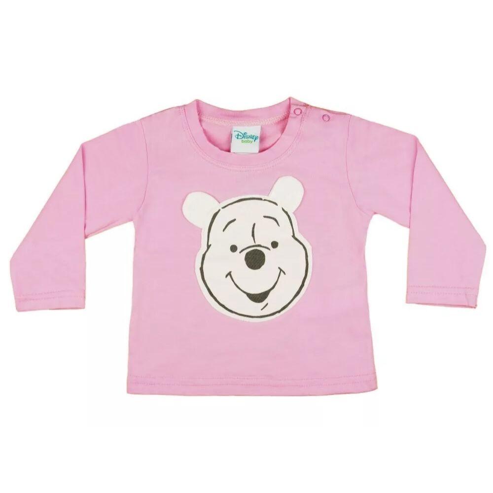 Micimackó mintával varrt és nyomott, hosszú ujjú póló, rózsaszín, pamut.