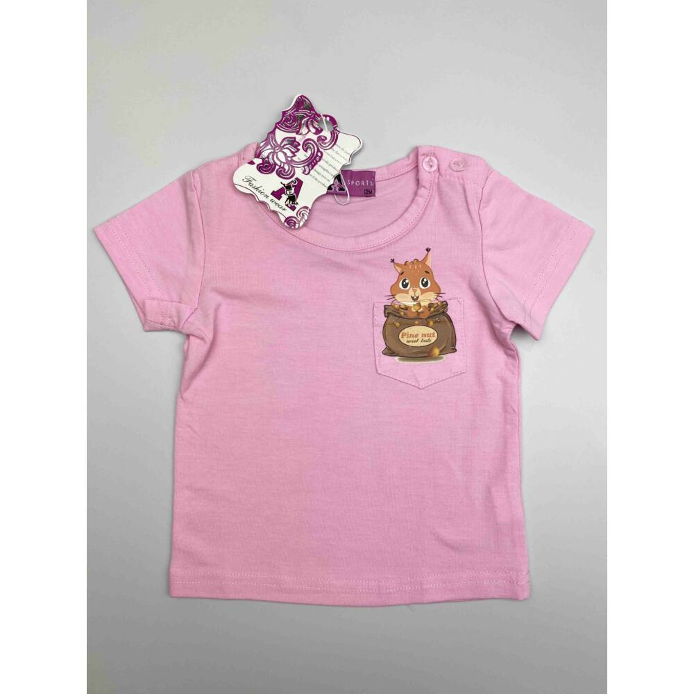 Rózsaszín kislány nyári rövid ujjú felső, elején zsebes, rajta filmnyomott mókus mintával
