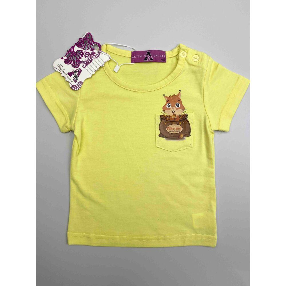 Sárga színű kislány nyári rövid ujjú felső, elején zsebes, rajta filmnyomott mókus mintával