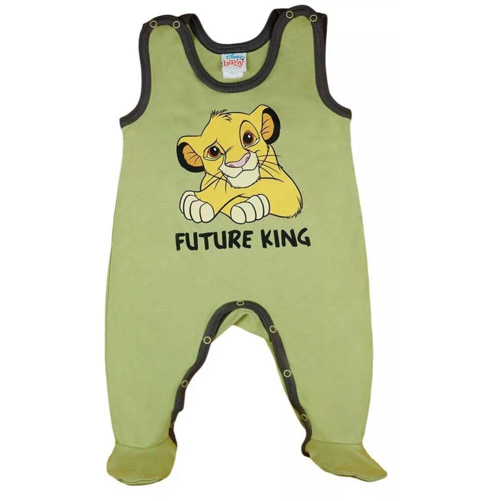 Ujjatlan baba kisfiú rugdalózó Oroszlánkirály filmnyomott mintával, oliva zöld.