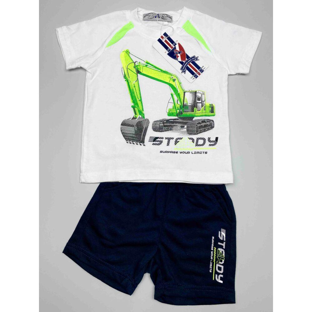 kisfiú fehér két részes munkagépes nyári szett, felső részén egy markoló van, nadrágja zsebes, felíratos