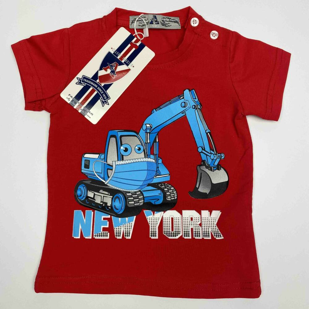 Kisfiú magas pamuttartalmú, nyári, rövid ujjú póló, elején markoló munkagép filmnyomott mita és New York felirat, piros színű