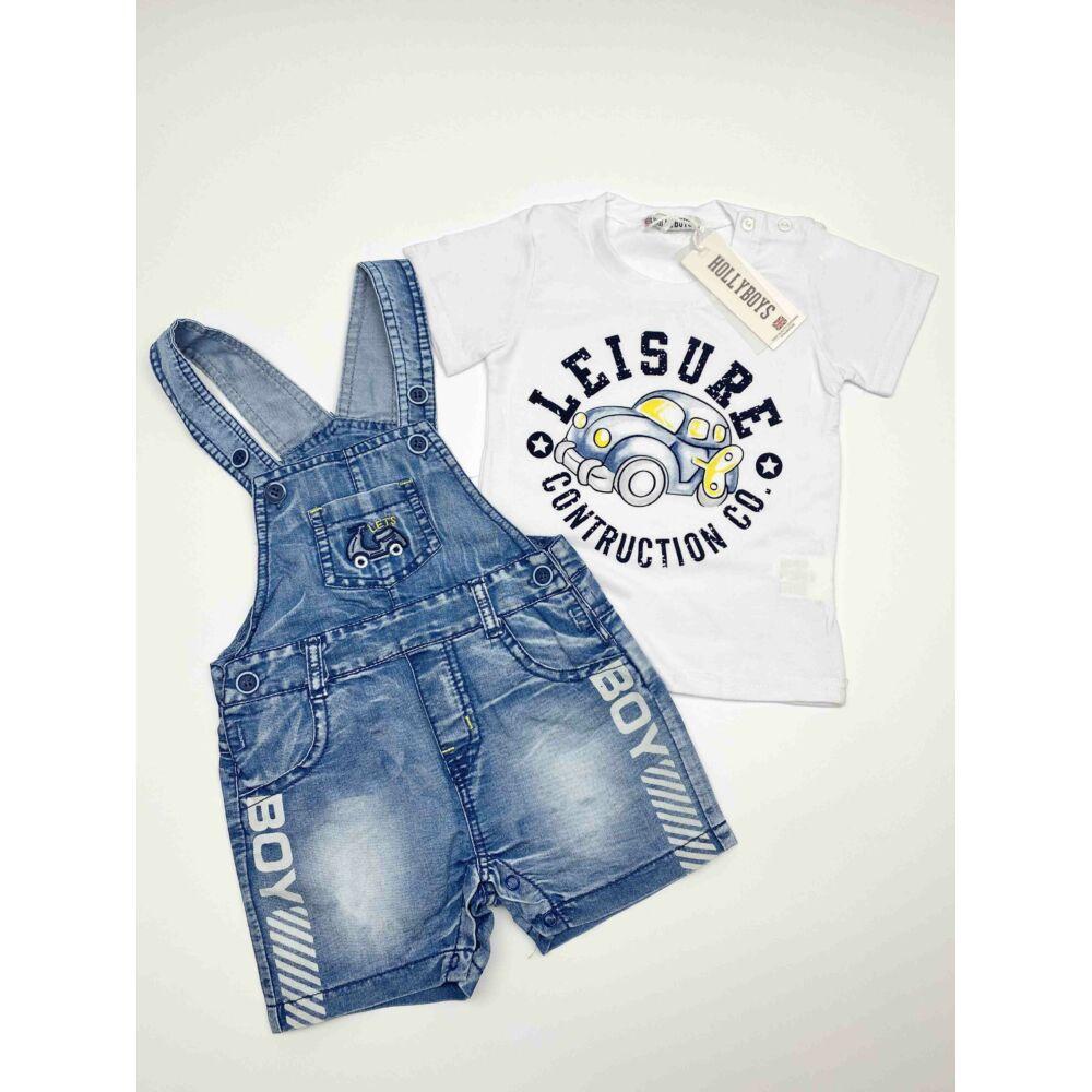 Kisfiú nyári két részes együttes, fehér rovid ujjú póló autós mintával és kék farmer kantáros rövidnadrág, boy felírattal