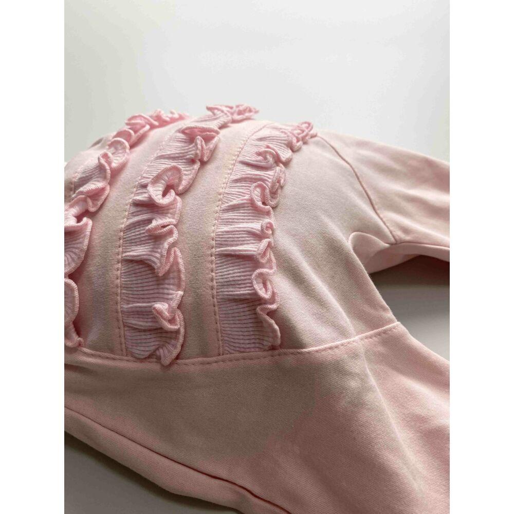 rózsaszín, kislány talpas nadrág, lehajtható széles derék részel, popsiján fodros kialakítással.