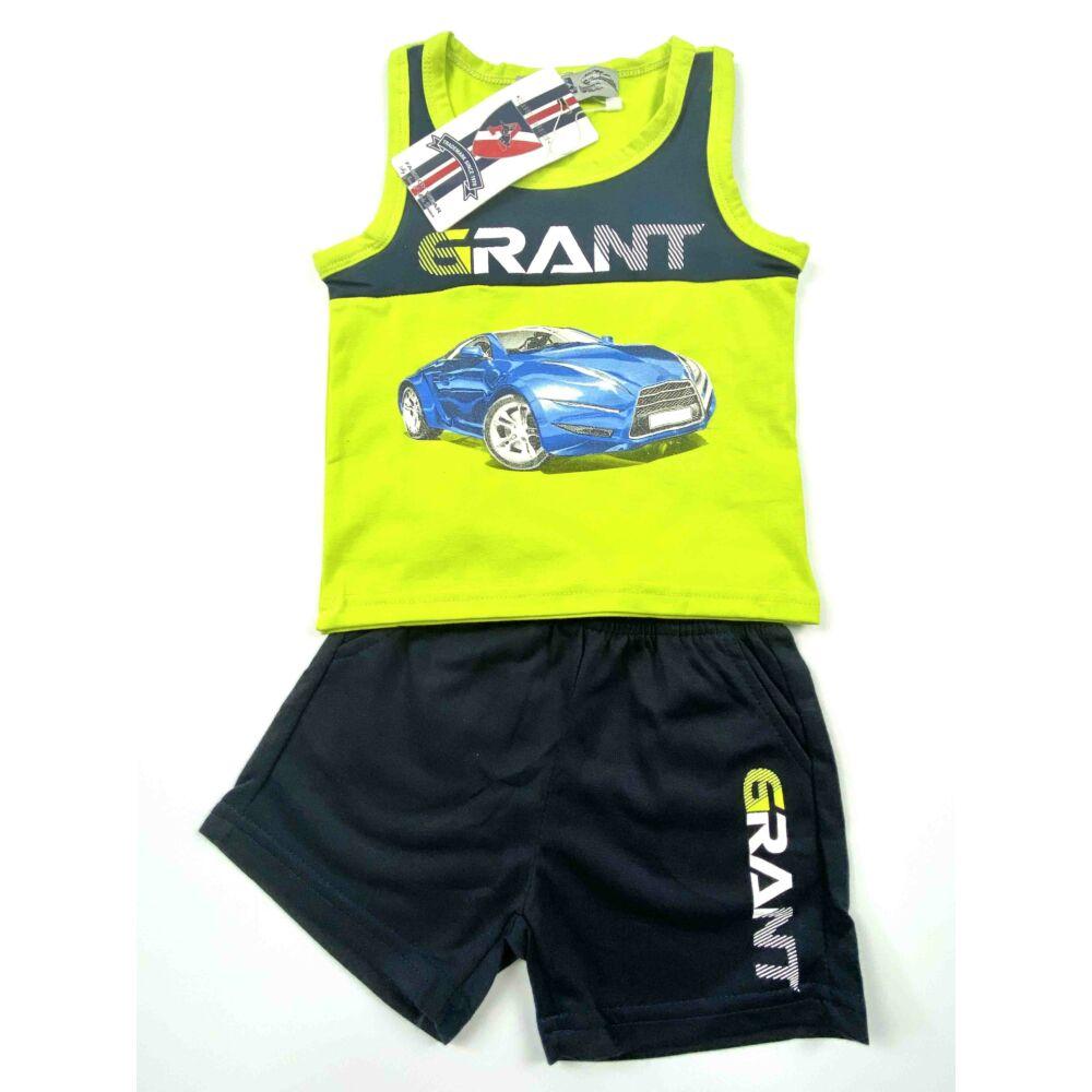 Két részes ujjatlan nyári kisfiú szabadidő szett, elején kék sportautó mintával
