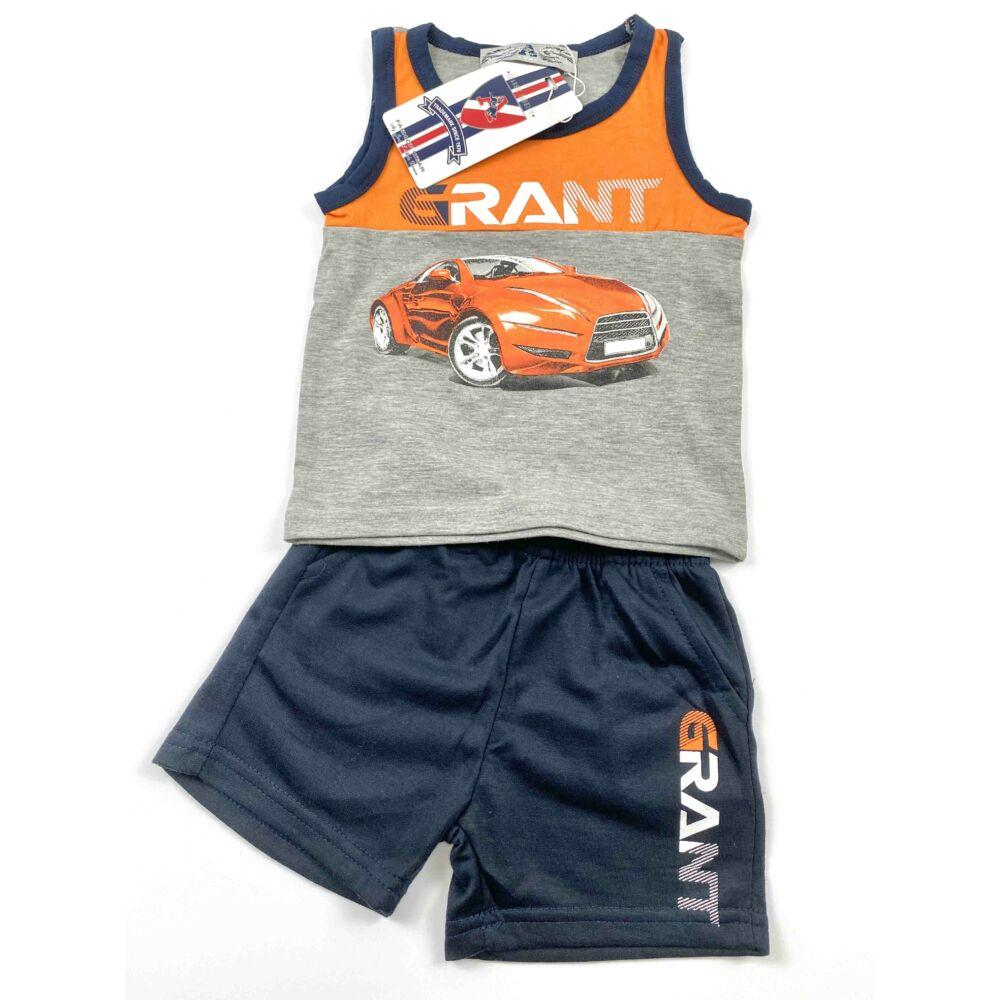 Két részes ujjatlan nyári kisfiú szabadidő szett, elején narancssárga sportautó mintával.