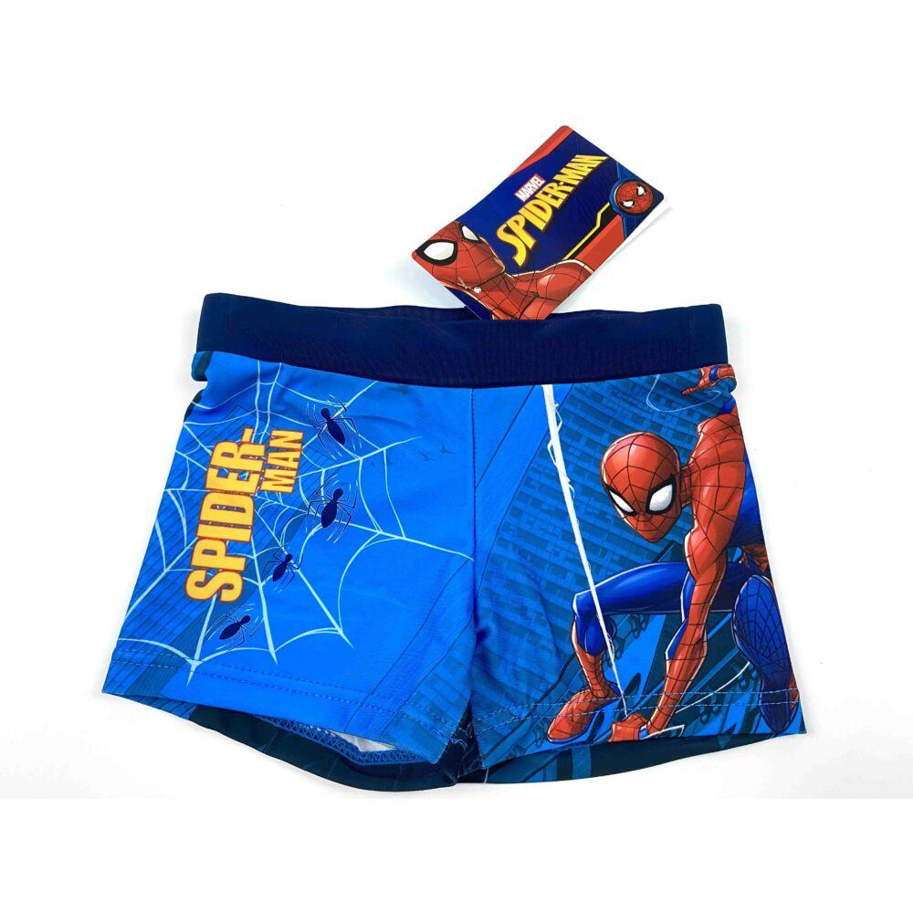 Marvel Pókember mintás kisfiú fürdőnadrág sötétkék színben. Az úszónadrág dereka gumis, és belül aktív kötős.