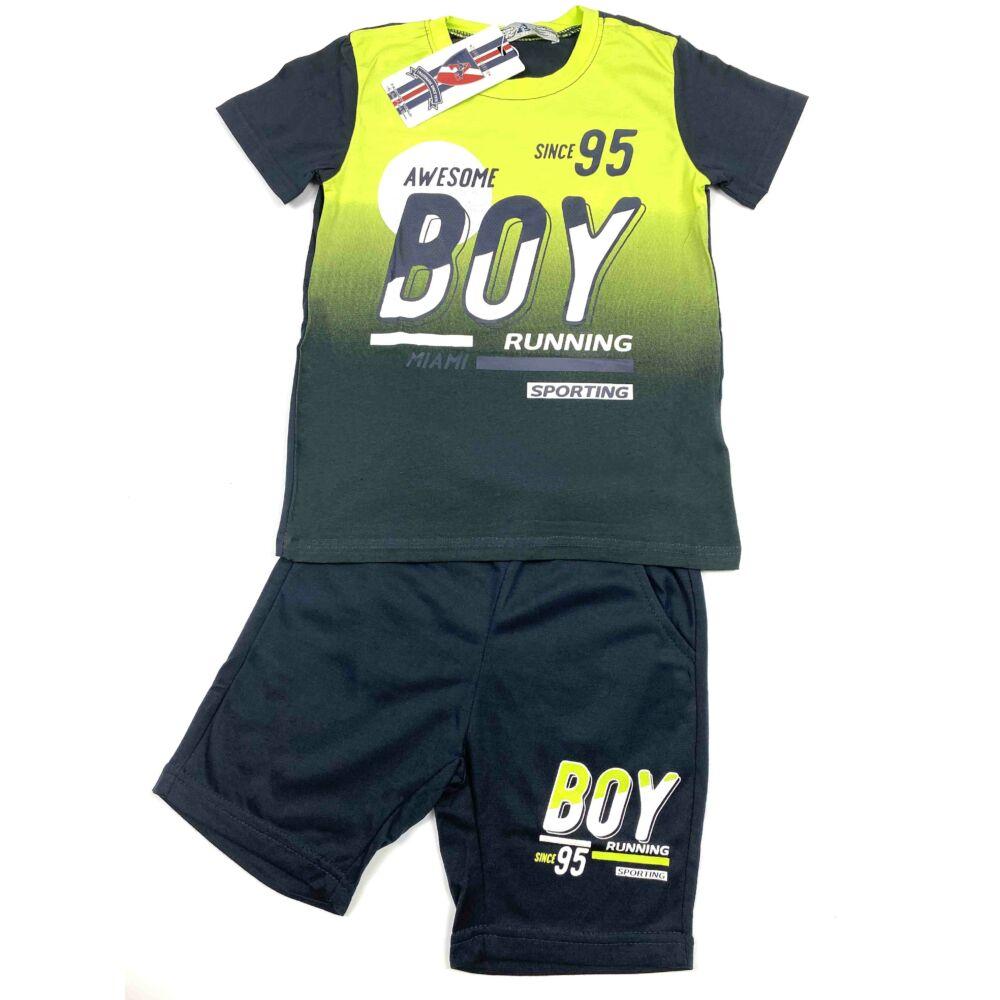 Kisfiú két részes nyári szett, neonzöld színű felső, Boy felírattal nadrágja zsebes.