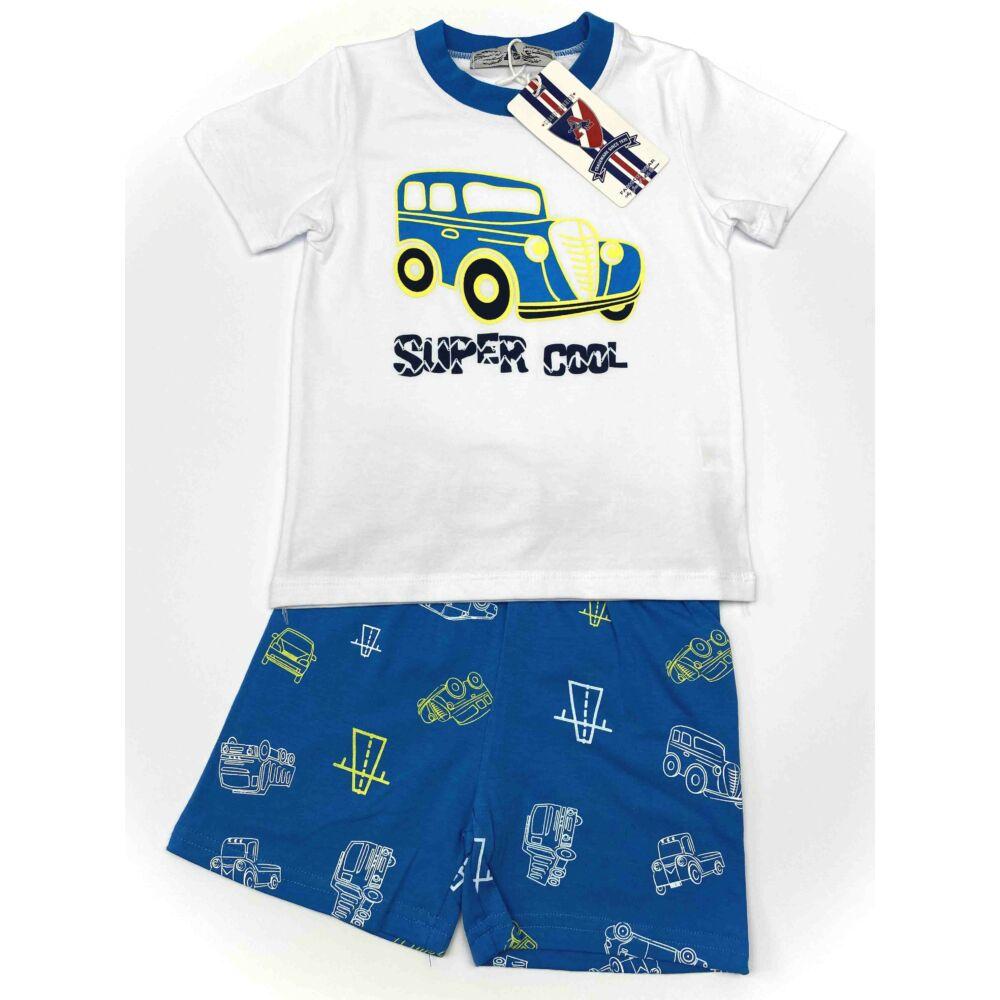 Kisfiú nyári két részes rövid pizsama, fehér felső és kék alsó részén is autó mintával, dereka gumis, szett