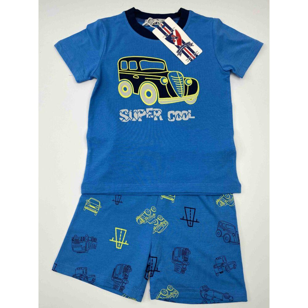 Kisfiú nyári két részes rövid pizsama, kék felső és kék alsó részén is autó mintával, dereka gumis