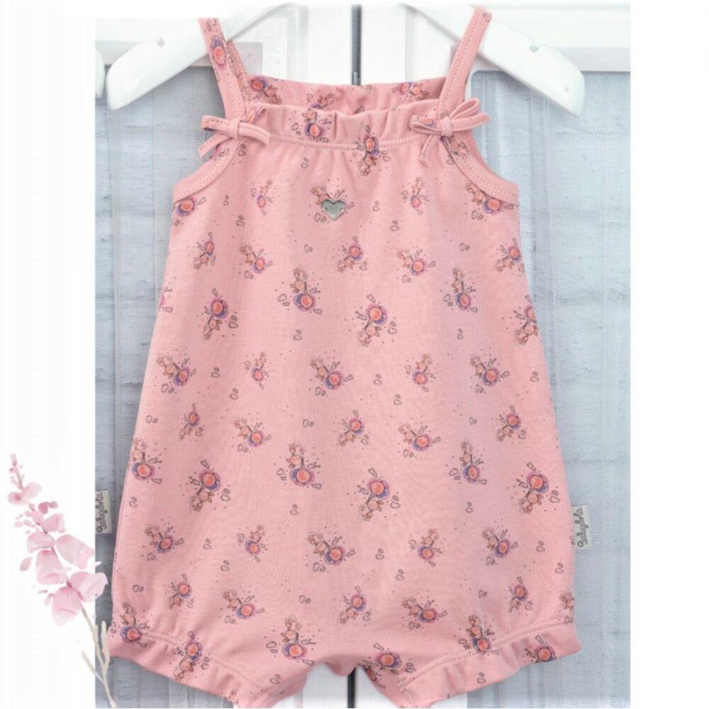 Kislány baba nyári csinos napozó, válla pántos, púderrózsaszín, apró nyuszi minta díszíti, ülepe patentos.