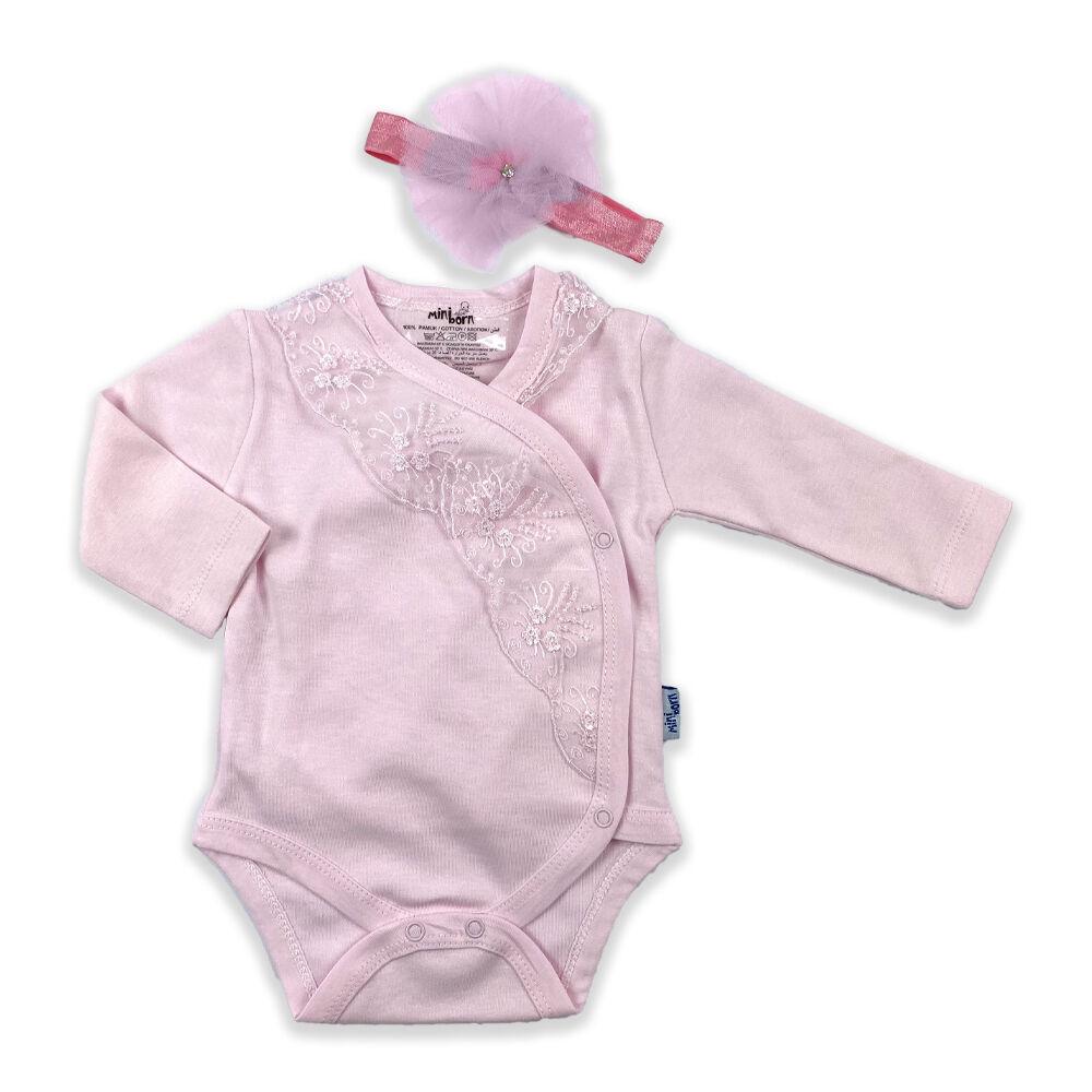 Kislány rózsaszín átlapolós body csipke szegéllyel és fejpánttal
