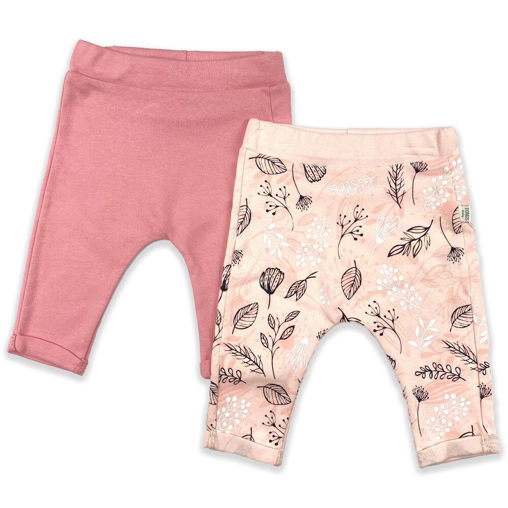 Kislány 2 darabos szett pamut nadrág barack és rózsaszín