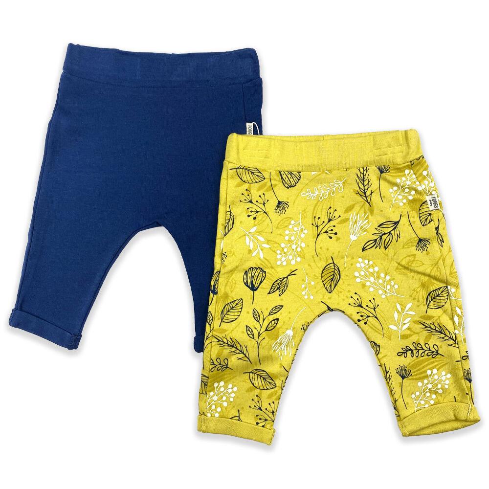 Kislány 2 darabos szett pamut nadrág kék és sárga
