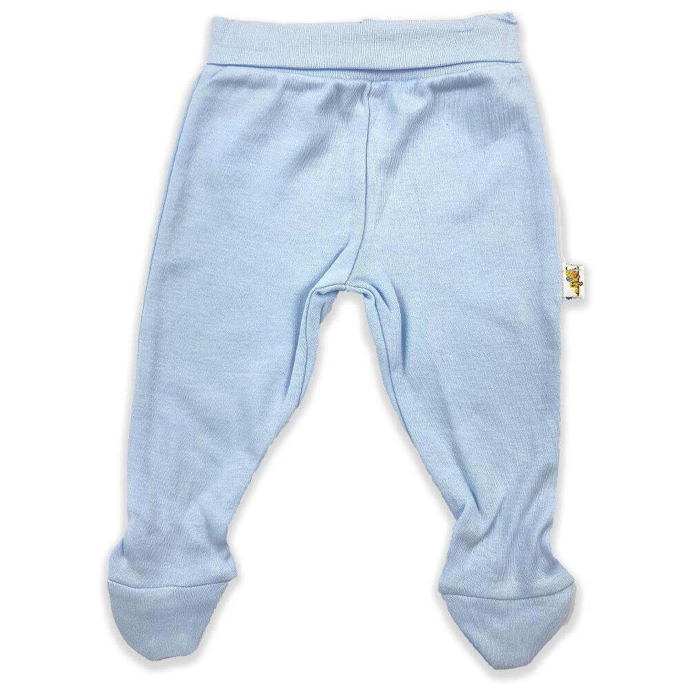 Újszülött kék színű pamut nadrág, lehajtható széles derékpánttal, lábfejes kialakítással.