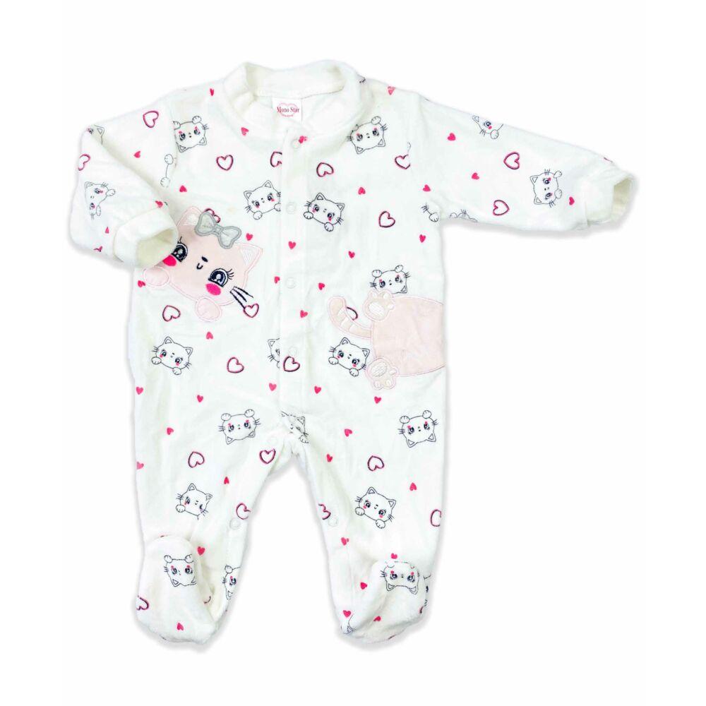 Magas pamuttartalmú, plüss, lábfejes kialakítású kislány baba rugdalózó.