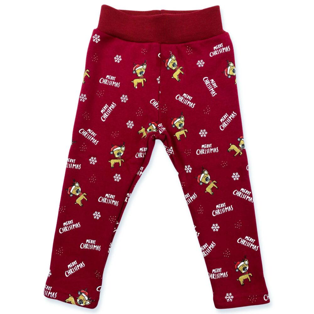 Karácsonyi mintás bélelt kislány leggings