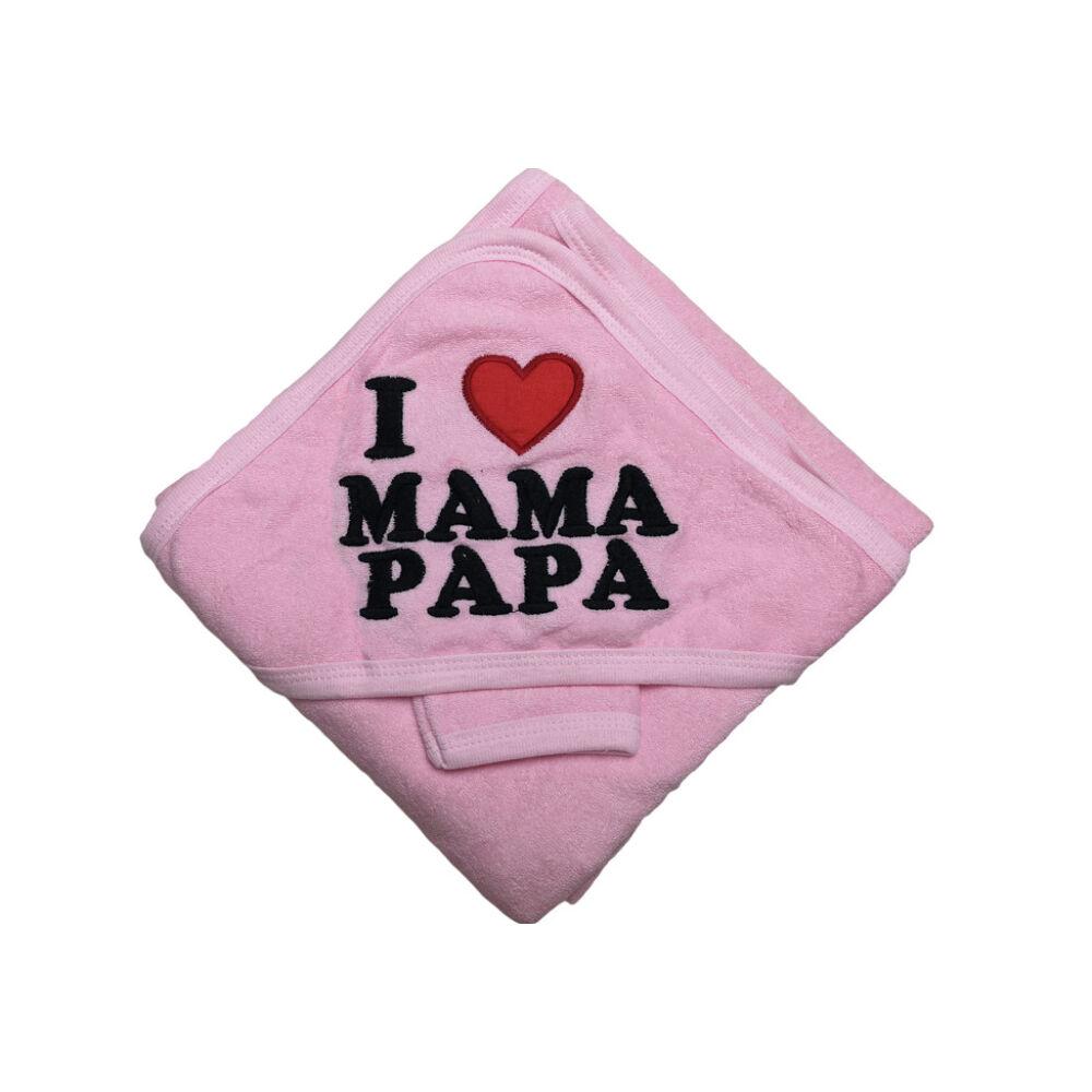 I Love Mama Papa fürdőlepedő (rózsaszín)
