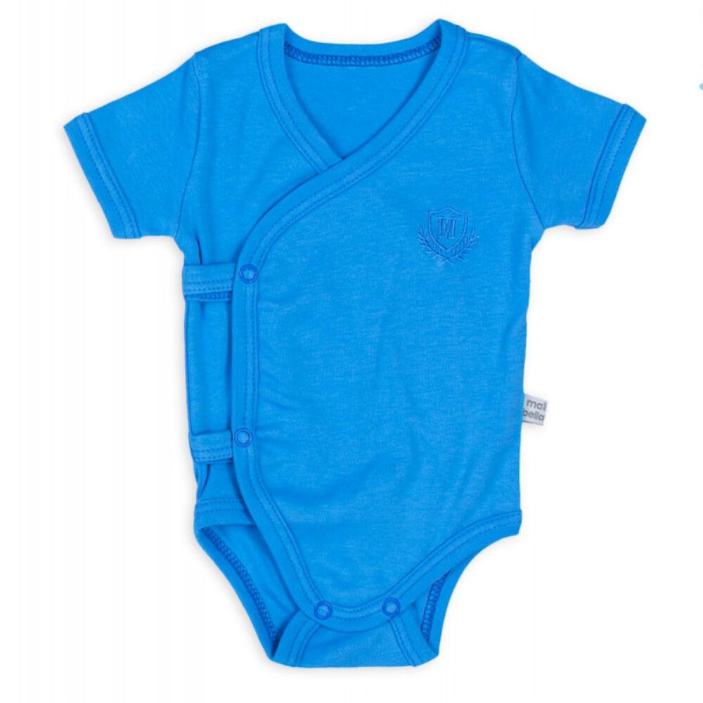 kisfiú kék színű átlapolós body, oldalán és üllepénél patentokkal