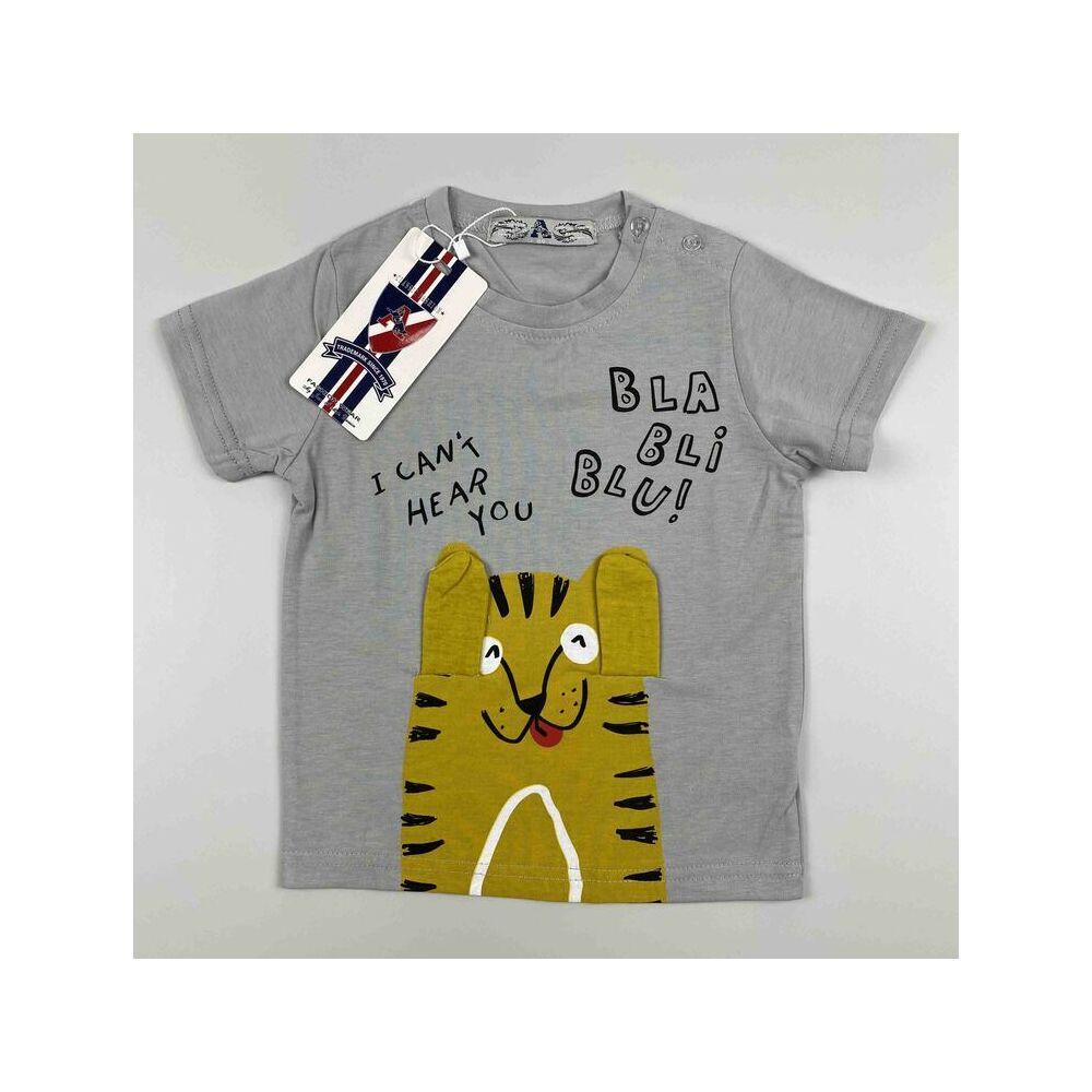 Kisfiú pamut rövid ujjú szürke alapon tigris motívummal bla-bli-blu felirattal
