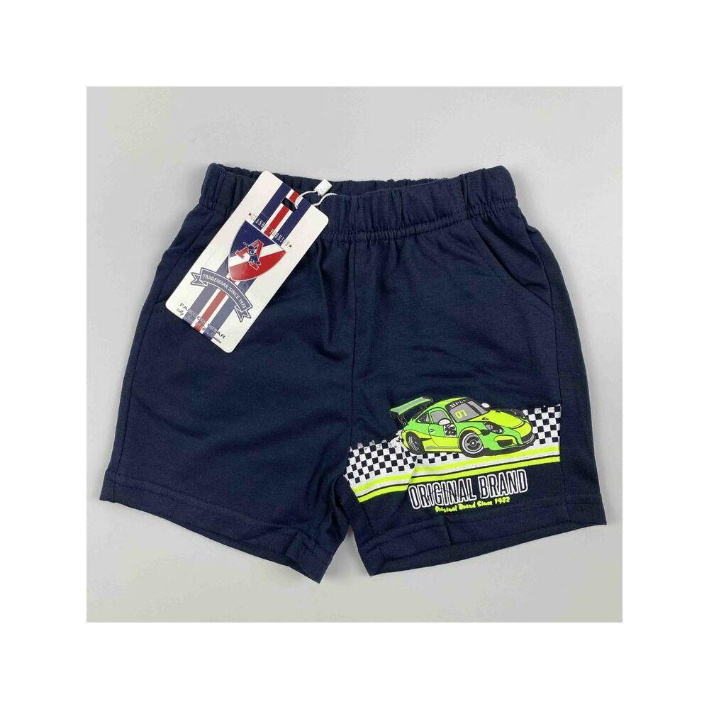 Kisfiú rövidnadrág kék színű original brand felirattal és filmnyomott autós motívummal