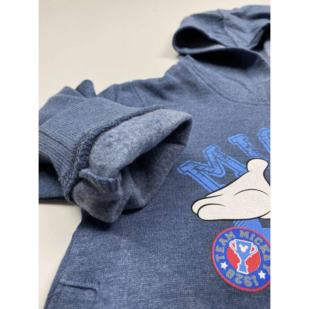 kék mickey kapucnis pulóver elején Mickey egeres filmnyomott mintával közeli2