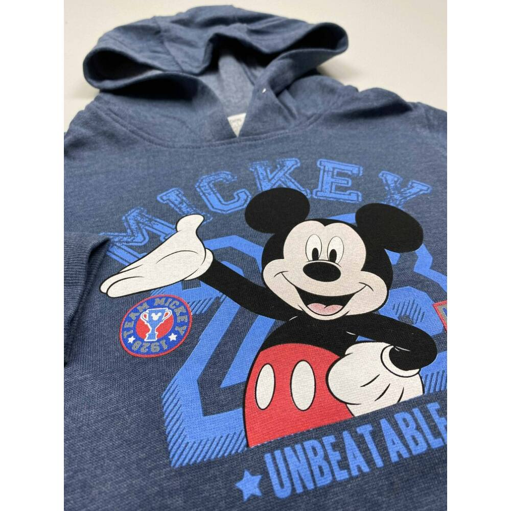kék mickey kapucnis pulóver elején Mickey egeres filmnyomott mintával közeli