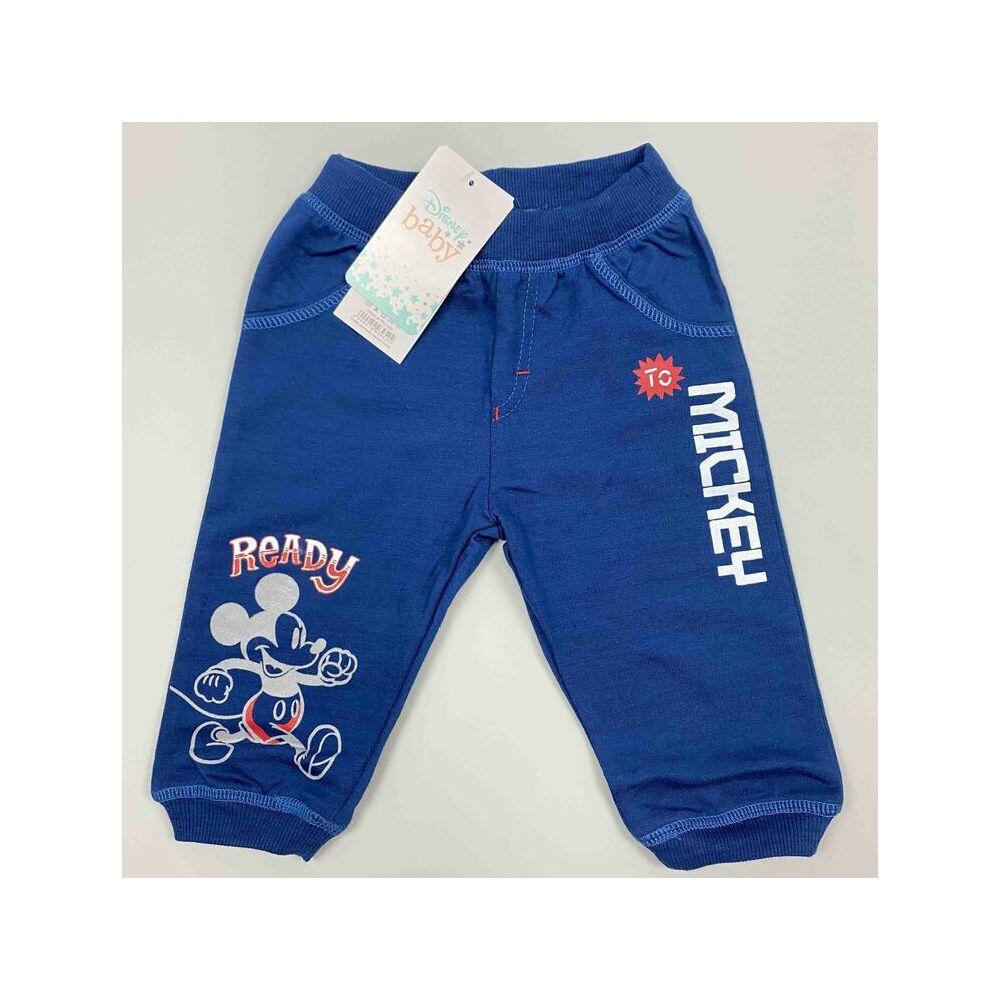 Kisfiú kék színű hosszú szárú nadrág Mickey felirattal és motívummal