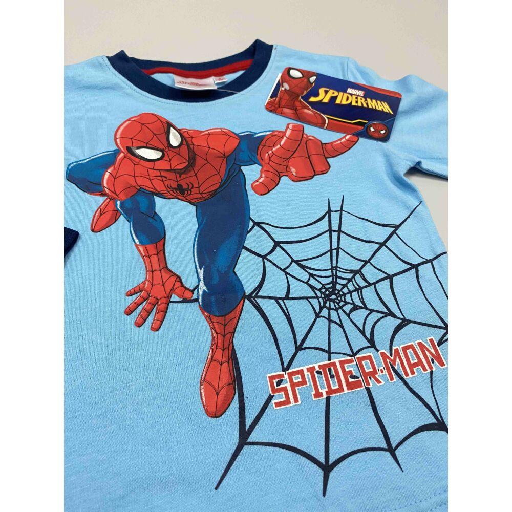 Kisfiú pamut világoskék felső pizsama Marvel Spiderman filmnyomott motívum és felirat, közeli