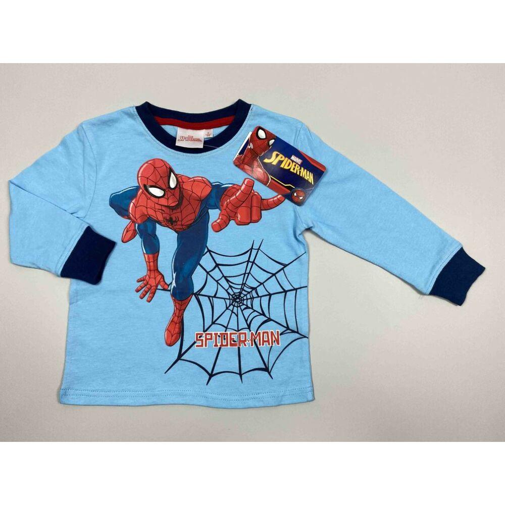 Kisfiú pamut világoskék felső pizsama Marvel Spiderman filmnyomott motívum és felirat