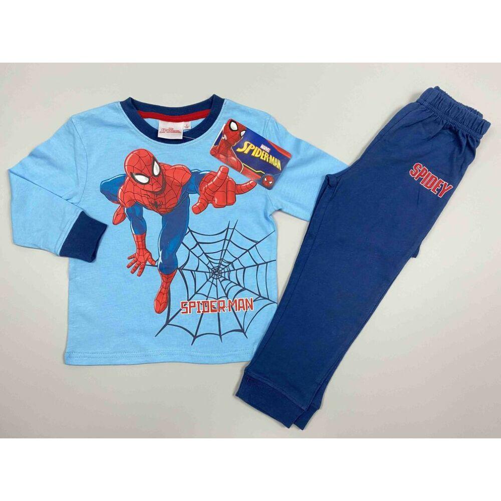 Kisfiú pamut világoskék kétrészes pizsama Marvel Spiderman filmnyomott motívum és felirat