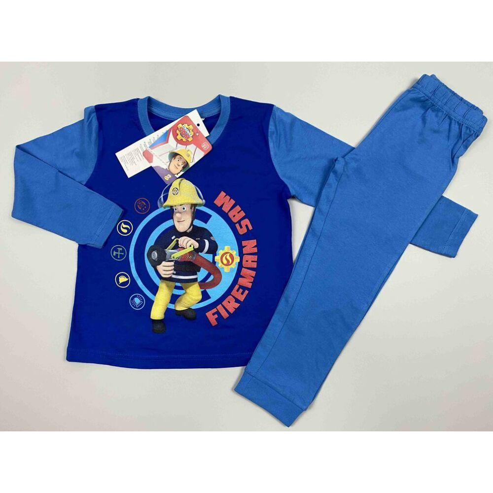 Kisfiú világoskék kétrészes pizsama filmnyomott Tűzoltó Sam motívummal és felirattal.