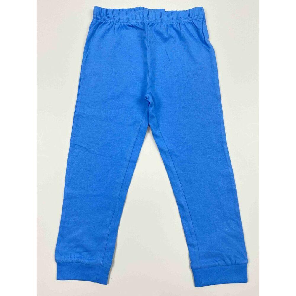 Kisfiú világoskék kétrészes pizsama nadrág része filmnyomott Tűzoltó Sam motívummal és felirattal
