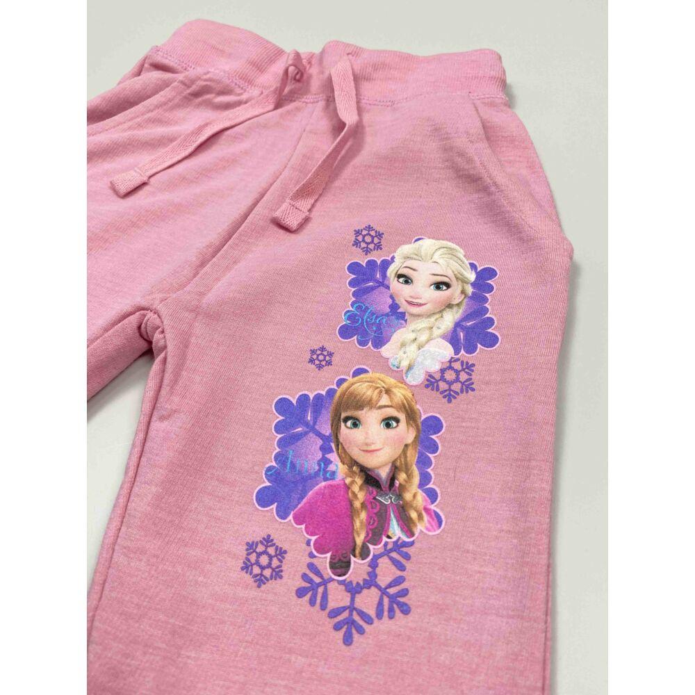 Kislány Jégvarázs Rózsaszín szabadidő nadrág Elza és Anna motívummal, közeli